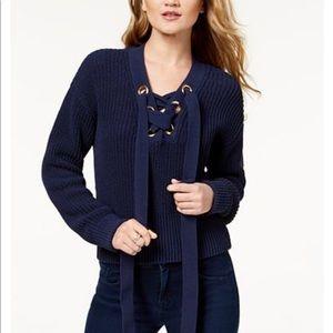 NWT Michael Michael Kors Lace Up Sweater L